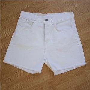BRANDY MELVILLE White High Waisted Cut Off Shorts